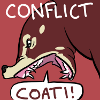 lb_lee: An icon in shades of red and cream, showing a righteously angry coati screaming. (conflict coati)