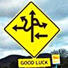 "shameless2shoes: Road sign with man divering and random errors and the words ""good luck"" (Confusing Sign w/GL)"