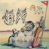 zeborah: zebra relaxing in a tin bath, its striped clothes hanging on a line above it (bath)
