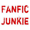 """thots_tochter: Icon with text """"fanfic junkie"""" (fanfic junkie)"""