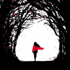 muccamukk: Wanda walking away, surrounded by towering black trees, her red cloak bright. (Default)