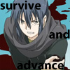 "lokifan: bloody Nezumi/Rat on his knees, text ""survive and advance"" (Nezumi: survive and advance)"