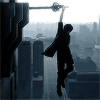 lokifan: Noct hanging off his sword, cityscape behind (Noct: hanging out)