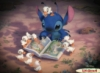 user_47: picture of small alien creature reading a book, while surrounded by baby ducks (stitch)