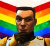 bluebaron: Cody (The Clone Wars version) in a 'thinking' pose overlaid on rainbow chevrons (cody)