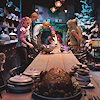 quietspring: Image: Weasley family, and Hermione preparing the table for Christmas dinner. (hp xmas by dess_xo)