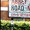 gramarye1971: Abbey Road street sign in London, marked with fan graffiti (Abbey Road)
