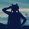 darksilverhawk: Picture of me in Sailor Moon cosplay, silhouetted against the sky (Sailor moon-sil)