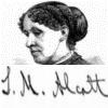 nocowardsoul: a sketch of Louisa M. Alcott with her signature beneath it ([alcott] portrait)