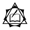 dreamwidth_therians: A symbol that combines both the theta-delta and elven star to represent Therians and Otherkin. Created in 2018 by Nokken. With book and pen in center. (Default)