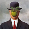 pinesandmaples: A painting of a man with an apple in front of his face by Rene Magritte.  (art: Magritte)