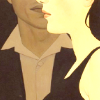 outlineofash: Side profile of a woman from the lips down. Behind her, a man also from the lips down, but facing the viewer. (Sundry - Double)