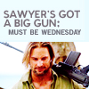 somersault: Sawyer's got a big gun: must be Wednesday (Lost; Sawyer)