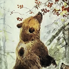 sunlit_stone: painting of a bear smelling flowers (bear_in_light)