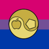 kshandra: The Sacred Chao from the Principia Discordia, in gold, superimposed on a Bisexual Pride flag (Bi Chao)