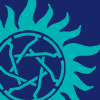 aurumcalendula: wayward sisters logo, a teal seven pointed star in a circle with a flame like border on a ultramarine blue backround (wayward)