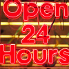 "spinfrog: neon sing says ""open 24 hours"" (open 24 hrs)"