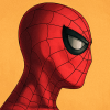 brotherofamphimachus: A profile of Spider-Man in front of a yellow background. (Marvel, Spider-Man)