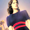 booksarelife: Tilted photo of Peggy Carter's head, shoulders and torso, where she is wearing a navy dress with two red stripes across the middle (Default)