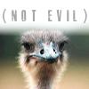 """kaberett: """"(not evil)"""" above an ostrich. (evil ostrich)"""