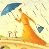 nightdog_barks: Illustration of woman with parasol walking against the rain by Alison Jay (Rain lady)