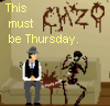 keltena: Trilby next to a skeleton and bloodstains: 'This must be Thursday.' ([chzo] difficulty with my lifestyle)