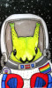 cassyblue: a green caterpillar in a space suit with a rainbow pride badge (caterpillar, space, gay) (Default)