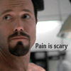 inwaterwrit: Jayne, from Firefly, wearing a pained expression. Quote: Pain is scary. (pain)