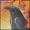 jjhunter: irridescent raven against a background of autumnal maple leaves (world tree raven)