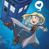 muccamukk: Drawing of 13 floating in space outside the TARDIS. Her speech bubble is a heart. (DW: 13 Hearts Space)