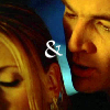 electric_heart: Biuffy in foreground with Spike behind her with & sign (Buffy & Spike)