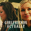 "alixtii: Veronica and Mac. Text: ""Girlfriends Actually."" (Veronica Mars)"