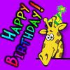 "reginagiraffe: Cartoon giraffe head with birthday hat. ""Happy Birthday!"" (Raffe Birthday - Heuradys)"