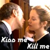 """alixtii: The master leans in to kiss Lucy Saxon. Text: """"Kiss me / Kill me."""" (Doctor Who)"""