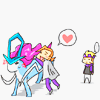 miami_tea: (Fanart) Eusine is hugging a slightly disgruntled Suicune while Morty is just looking at the scene from the background ([Pkmn] - Eusine and Suicune (+Morty) - ♥)