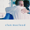 "juniperphoenix: Connor and Duncan MacLeod hugging with text: ""Clan MacLeod"" (HL: MacLeods)"