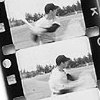 runpunkrun: black and white film strip of baseball player (all stories are baseball stories)
