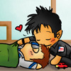 runpunkrun: chibi rodney mckay in a sleeping bag with chibi john sheppard kissing him on the head (mcshep is love also naps)