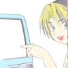 qem_chibati: Hikaru pointing at a computer smiling with his friend from the Heian period (Hikaru - tech support)