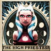 "tigerlily: Ahsoka Tano in her later The Clone Wars costume with the words ""the high priestess"" underneath and the tarot card background behind her. (Ahsoka as the High Priestess tarot card)"