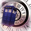 purplecat: The Tardis against a spiralling clock face motif. (Who:Tardis)