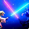 klingonlady: (Muppets: Kermit/Gonzo sabers)