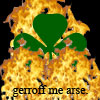 youngraven: A shamrock in flames with an instructional message (annoyed)