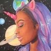 electric_heart: Black woman with unicorn horn and purple hair with planets in the background (Last Black Unicorn)