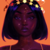 electric_heart: Black woman with a crown of stars (Black Gold)