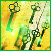 xion: A group of keys which appear to be hanging on a thread in midair. (Hanging keys)