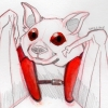 packbat: A line sketch of a bat with red eyes. Red backpack straps cross zir chest. (backpack bat)