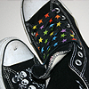 lucifuge5: Black Converse Sneakers with Rainbow Laces (Default)