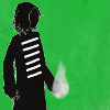 pospreterito: black silhouette with white fire in one hand, green background ({stories} ..bracketverse arcturus)