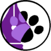 ladykf: A black circle around a purple pen nib with a black paw print (KF avi)